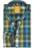 Redmond modern fit overhemd, blauw met groen geruit (contrast)