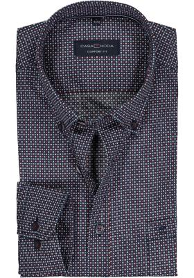 CASA MODA Sport comfort fit overhemd, rood met wit en blauw ruit met dessin