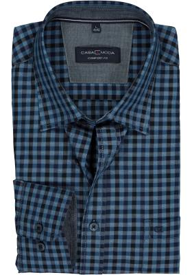 CASA MODA Sport comfort fit overhemd, blauw geruit (contrast)
