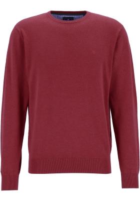 Redmond heren trui katoen, O-hals, bordeaux rood