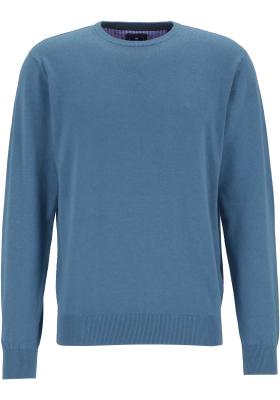 Redmond heren trui katoen, O-hals, jeansblauw