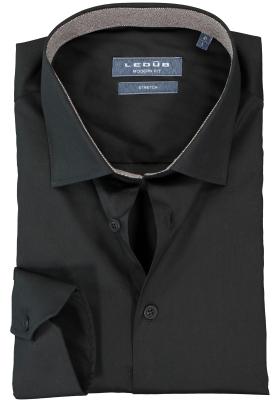 Ledub overhemd modern fit overhemd, stretch, zwart (donkerbruin contrast)