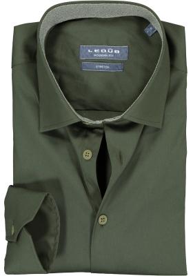 Ledub overhemd modern fit overhemd, stretch,  donker groen (contrast)