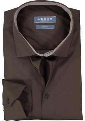 Ledub overhemd modern fit overhemd, stretch, donker bruin (contrast)