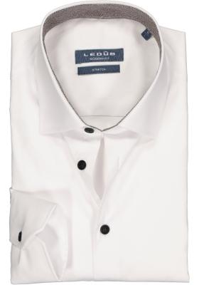 Ledub overhemd modern fit overhemd, stretch, wit (bruin contrast)